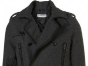 Grey Wool Funnel Neck Peacoat
