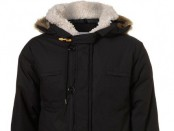 Black Wadded Fur Trim Parka