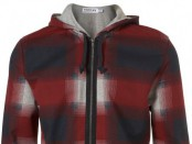 BURGUNDY BLUR CHECK HOODY