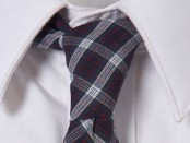 Navy Check Slim Tie