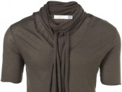 Brown Scarf Neck T-Shirt